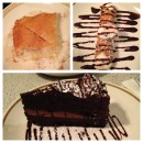 Greek custard, cannoli, and chocolate cake at Nabeel's