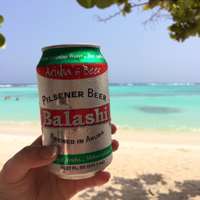 Balashi Beer at Baby Beach
