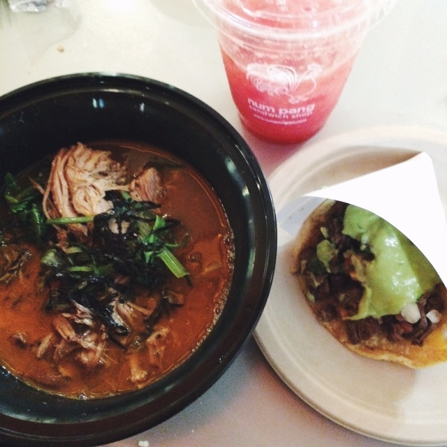 Mokbar Ramen and Carne Asada taco from Los Tacos